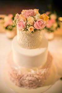 Vintage Peony Rose Ruffle Wedding Cake