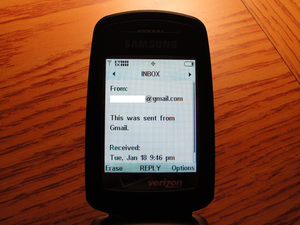how to send email to cell phone as text