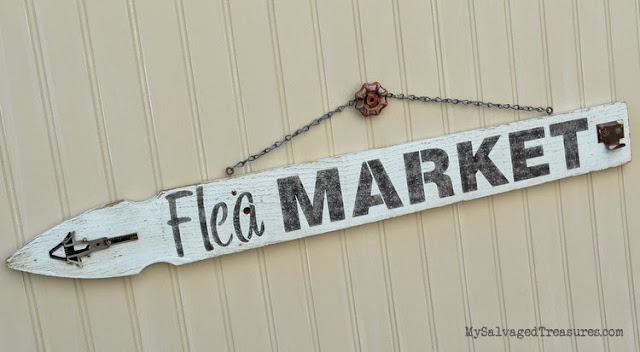 #oldsignstencils flea market picket fence sign