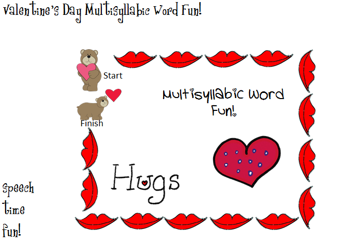 Valentine S Day Multisyllabic Words Fun Speech Time Fun Speech