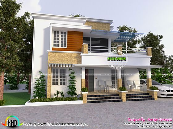 First Floor Front Elevation Houses : Modern house with detached porch kerala home design