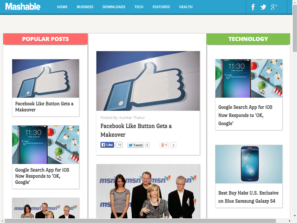 Mashable Blogger Template