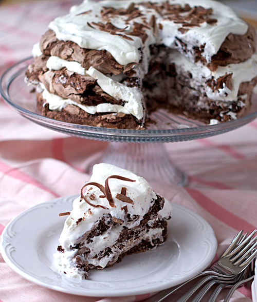 Chocolate Meringue Cake ~ Heat Oven to 350