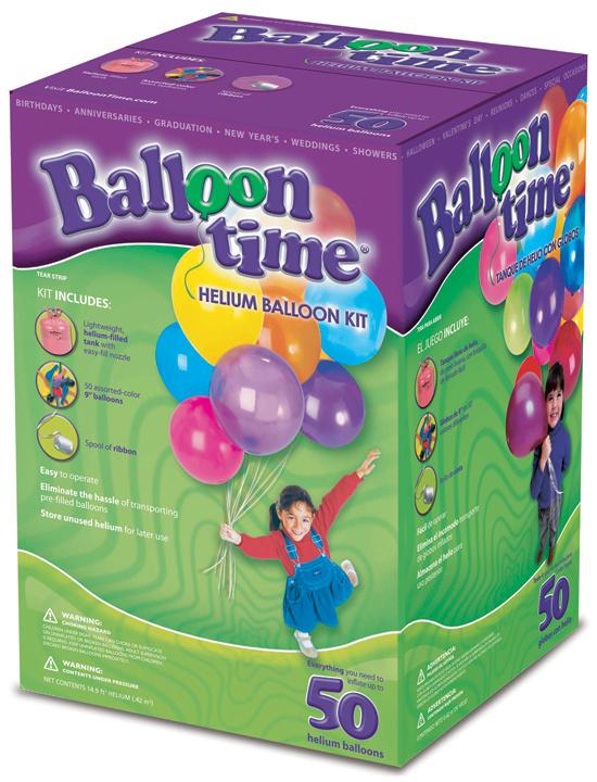 Sæt med balloner og trykflaske med helium