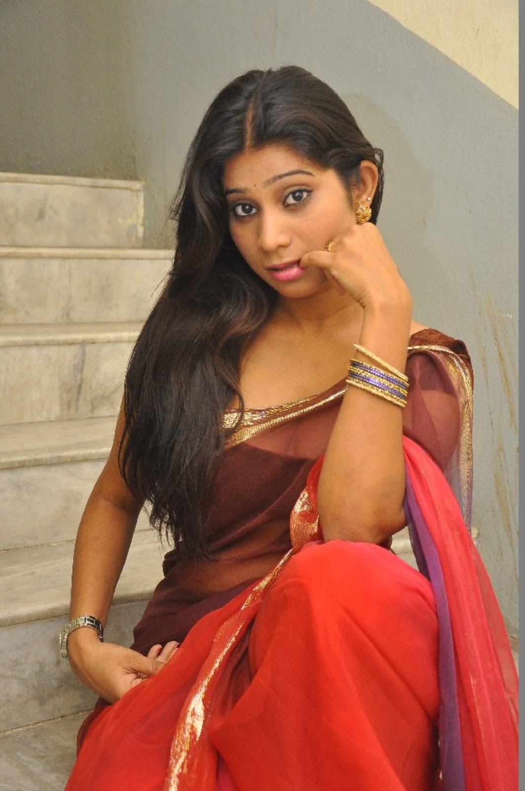 Midhuna Waliya Hot Cleavage Show Photos in Transparent