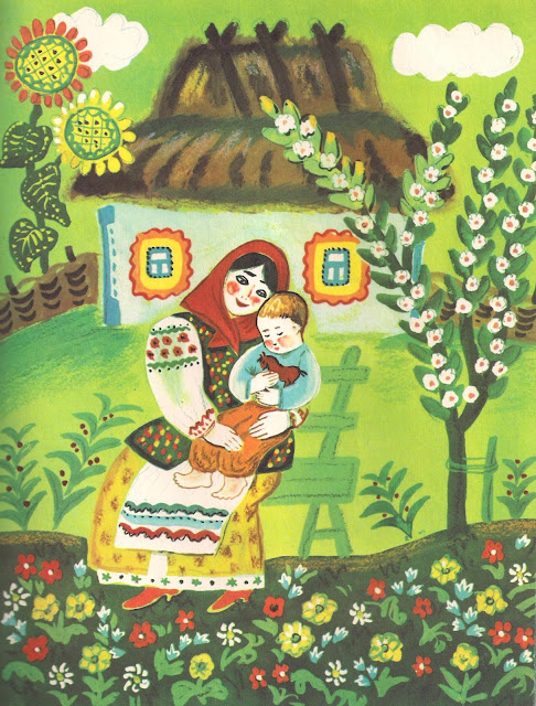 rare book, cat, flowers, khodit kot po gore, khata, mom and baby, folk style, illustration