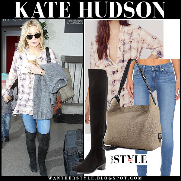 Kate Hudson in plaid shirt, skinny jeans and black suede boots stuart weitzman lowland what she wore