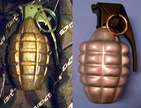 Two inert grenades.