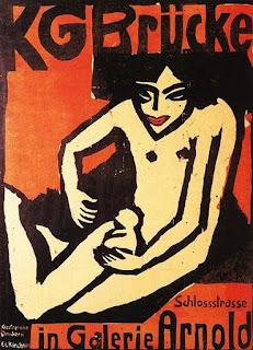 Cartaz de apresentação para uma exposição de Die Brücke na Galeria Arnold de Dresde (1910), de Ernst Ludwig Kirchner.