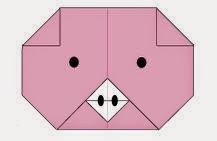 Bước 7: Vẽ mắt, vẽ mũi đề hoàn thành cách xếp mặt con lợn giấy origami.