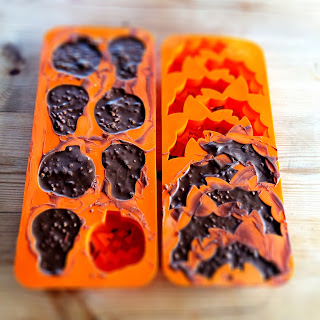 Making Halloween chocolates using Lidl ice cube mold.