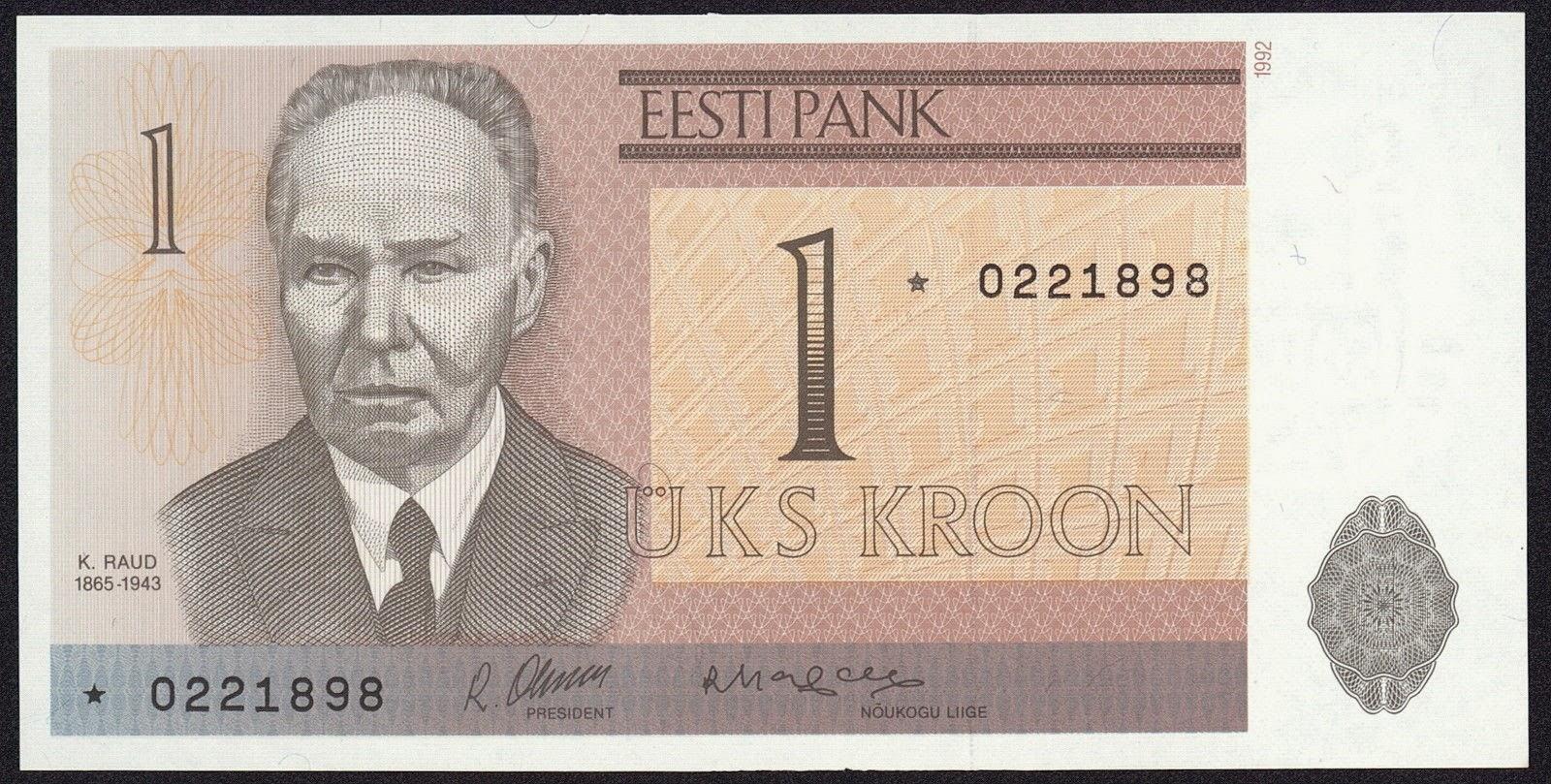 Estonia currency money 1 kroon banknote, Kristjan Raud