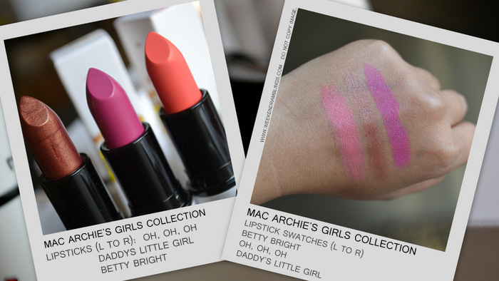 MAC Archies Girls Makeup Collection Spring 2013 Valentines Gift Ideas Photos Swatches Indian Beauty Blog Darker Skin WOC Lipstick Oh Oh Oh DLG Daddys Little Girl Betty Bright