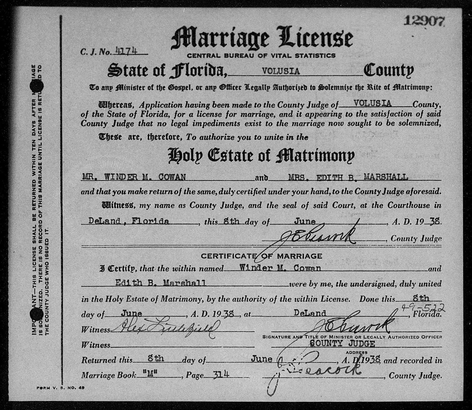 The biele family blog edith biele and red cowan marriage license of edith biele and winder cowan on june 8 1938 daytona beach florida xflitez Gallery