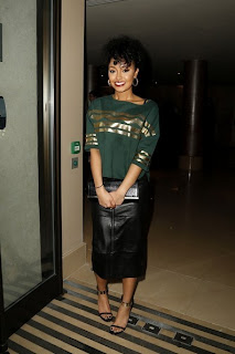 Leigh Anne Pinnock, ASOS, Leather Midi Skirt, Green, Gold, Top, Little Mix