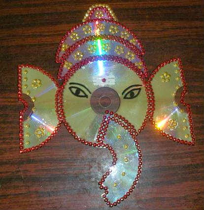 Beautiful indian Hindu god Lord Ganesha Handycraft from Waste CDs ...