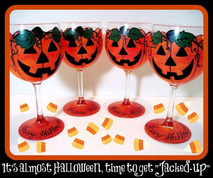 Jack-O-Lantern Painted Wine Glasses / www.kudoskitchenbyrenee.wazala.com