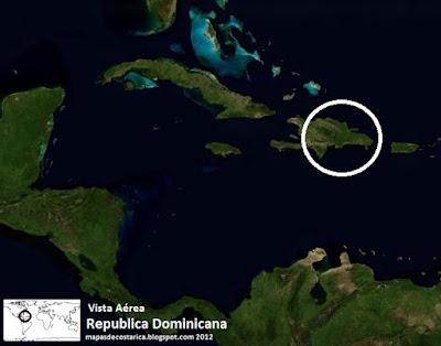 Mapa de Republica Dominicana en Centroamérica y El Caribe, Vista Aérea