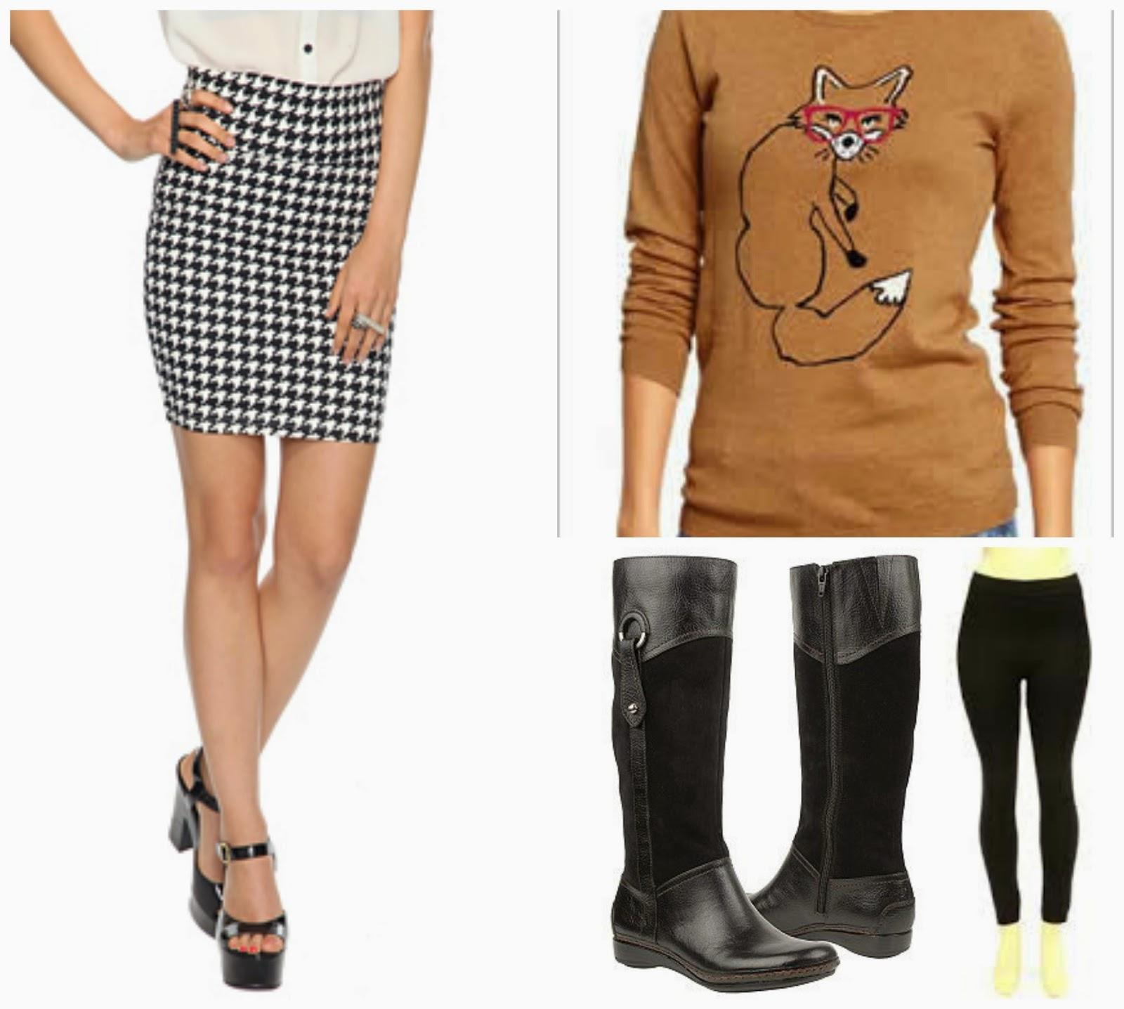 houndstooth skirt fox sweater boots leggings