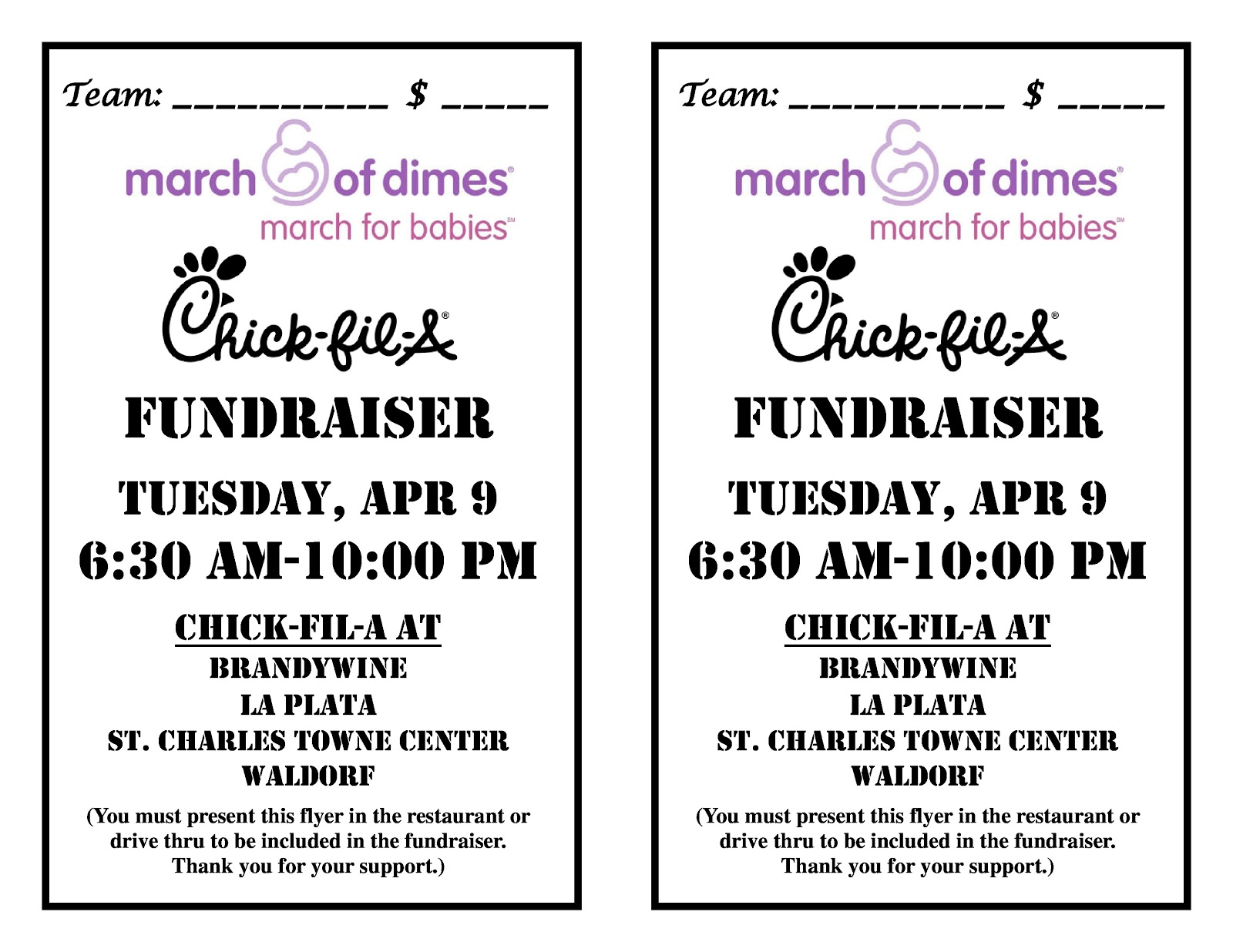 March of Dimes, MD-NCA: Chick-Fil-A Fundraiser