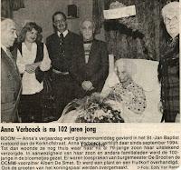 Anna Verbeeck werd 102 jaar oud
