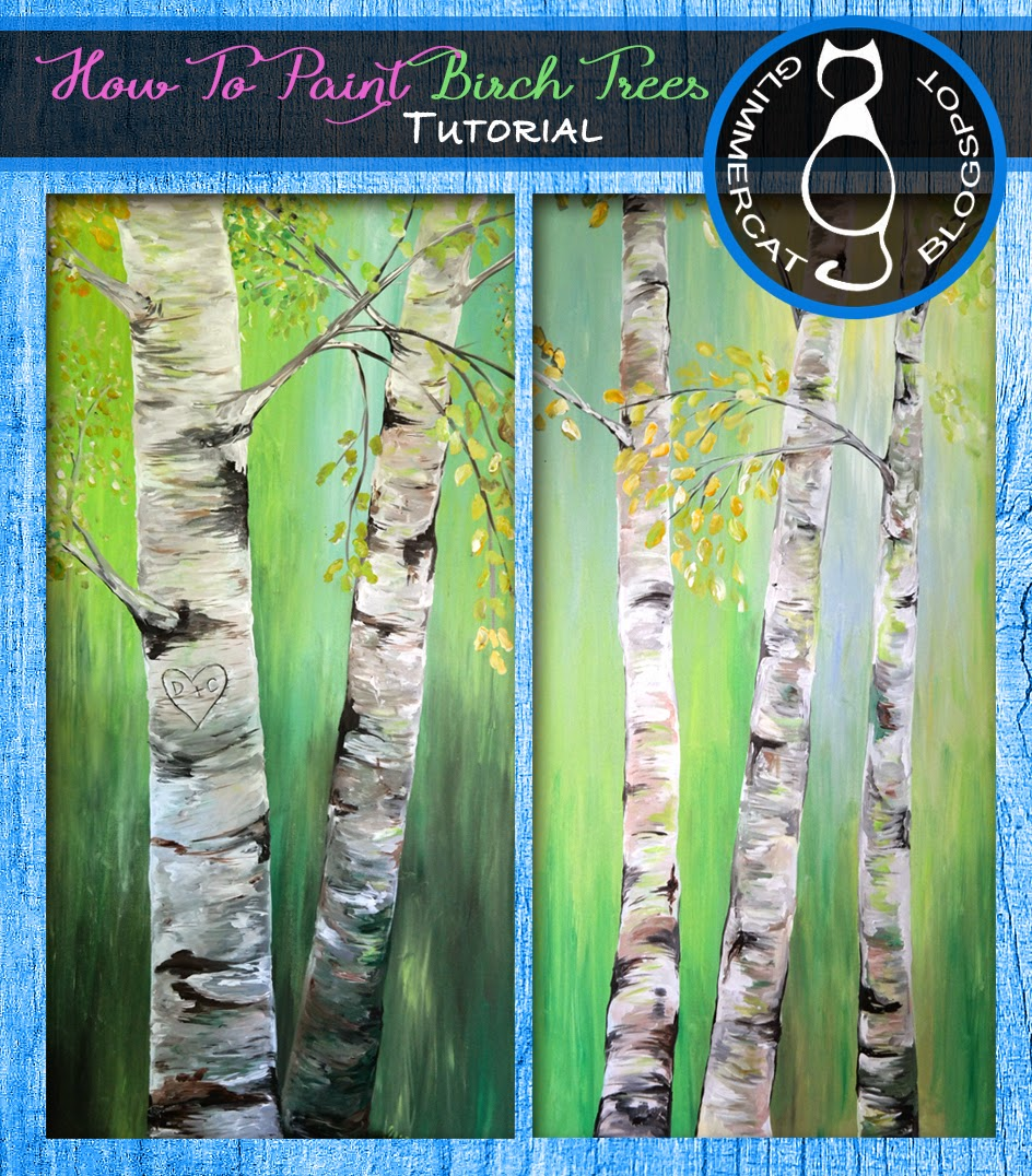 Glimmercat: Painting Birch Trees on Canvas Tutorial