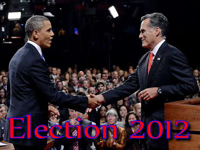 Obama and Romney shaking hands in an election pose
