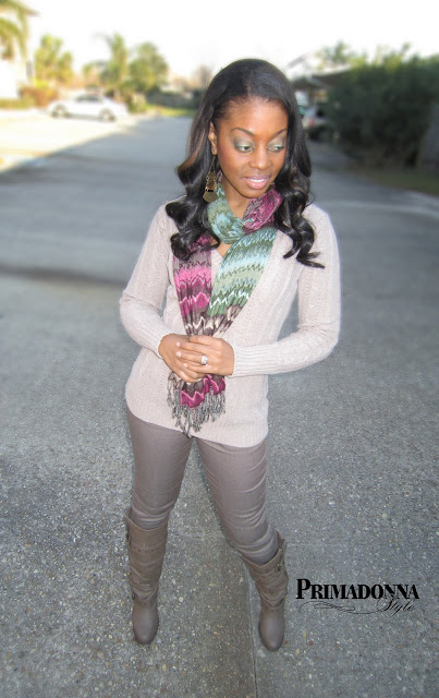 what to wear with coated jeans taupe boots a scarf
