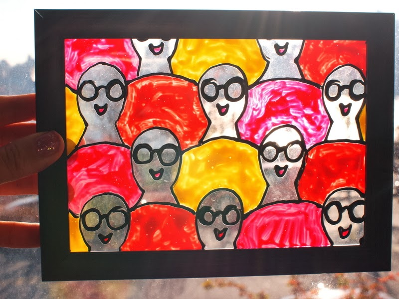 Diy faux stained glass using mod podge and fabric paint for Using fabric paint on glass