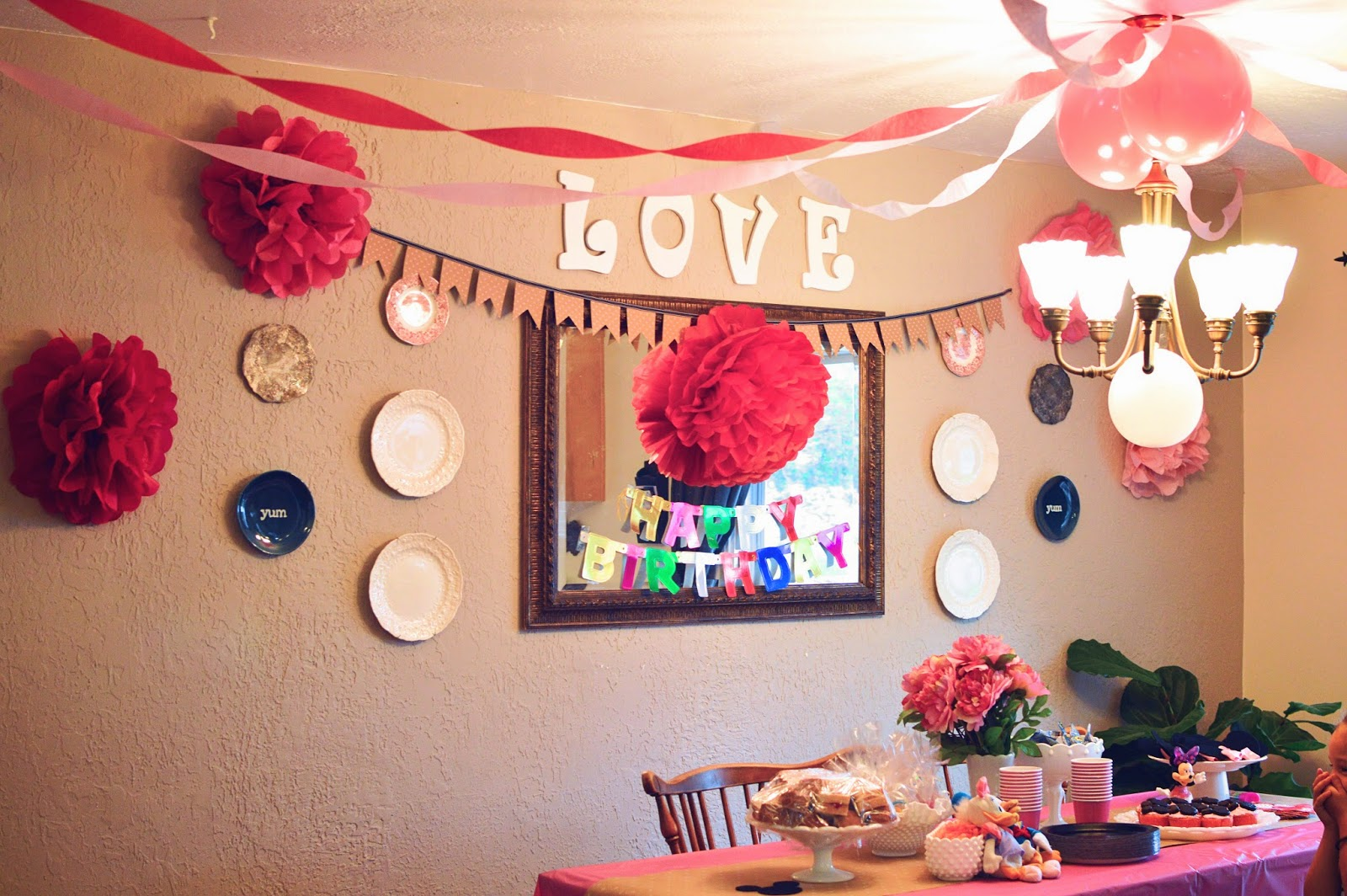 Happiness made minnie mouse birthday party on a budget for decorations i kept it affordable with tissue paper flowers streamers and a chalkboard paper minnie mouse door sign here is everything all pulled amipublicfo Choice Image