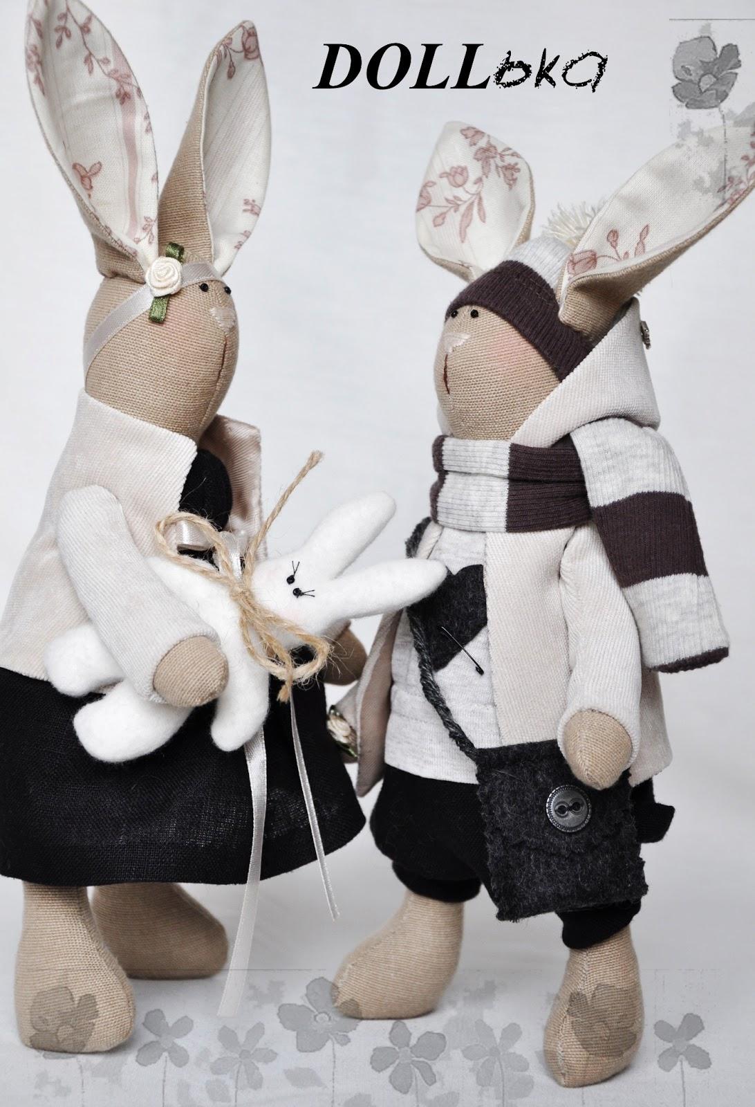 Зайцы хенд мейд игрушки