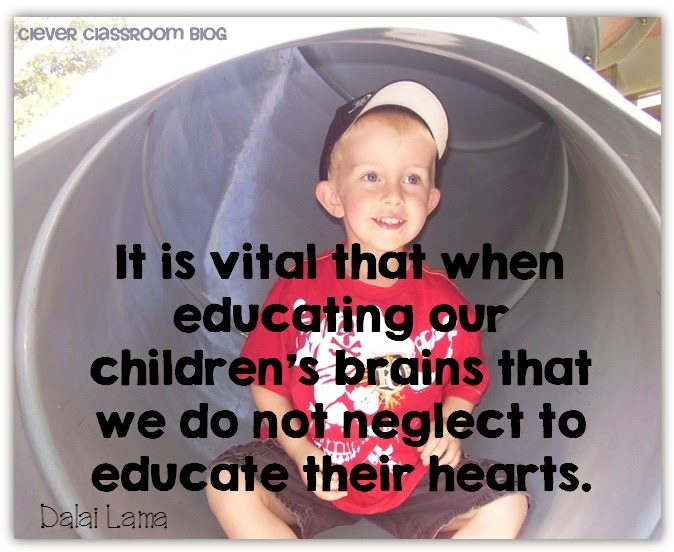 It is vital that when educating our children's brains that we do not neglect to educate their hearts.  Thankful Jar blog post by Clever Classroom