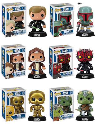 Star Wars Pop! Vinyl Bobble Heads Wave 2 - Jedi Luke Skywalker, Boba Fett, Obi-Wan Kenobi, Darth Maul, C-3PO &amp; Gamorrean Guard