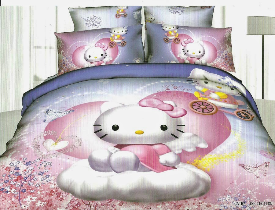 Sprei Anak Motif Kitty Love Putih