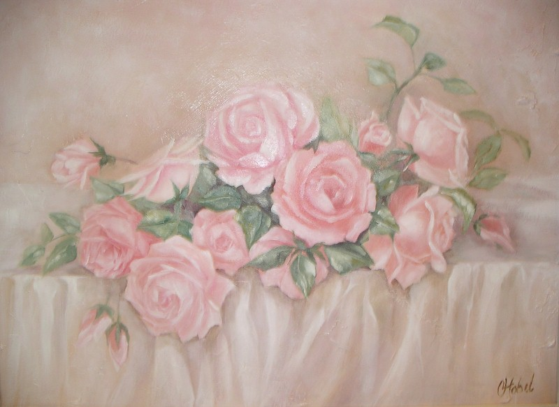 Romantic country and rose paintings beautiful abundant flowing pastel pink roses depicted in a traditional style sitting on a white cloth the oil original was purchased by a collector mightylinksfo
