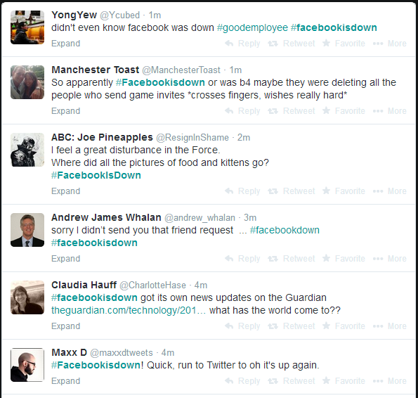 On twitter the hashtag #FacebookIsDown is now trending. Here are some of netizens' reaction taken from Twitter.