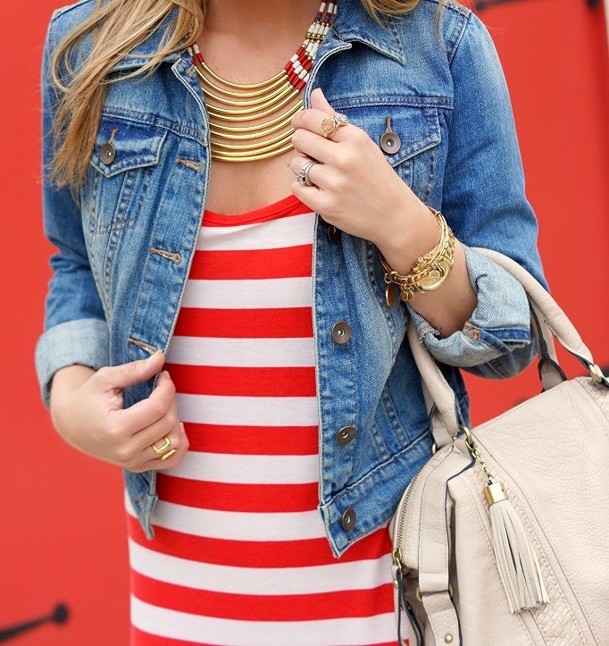 Stripe Maxi Dress Denim Jacket Gold