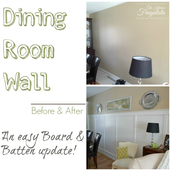Dining Room Wall Before and After Installing Board and Batten