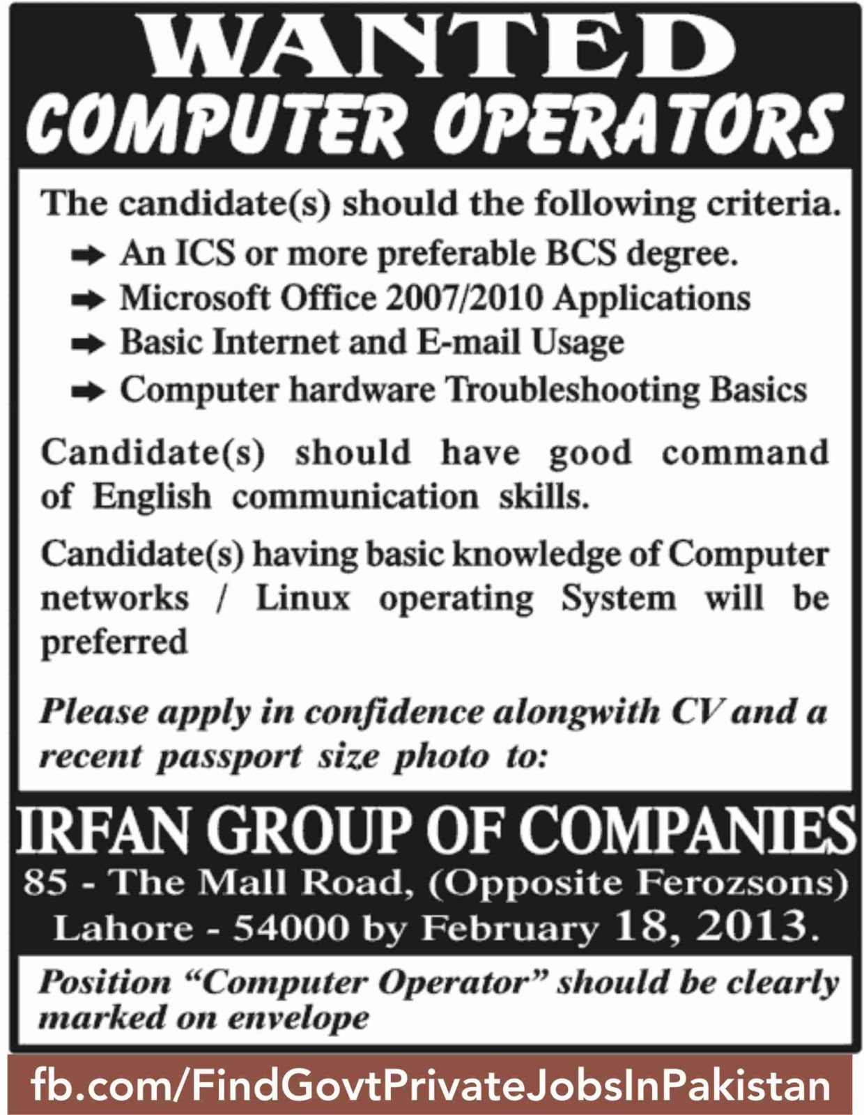wanted computer operator job ads