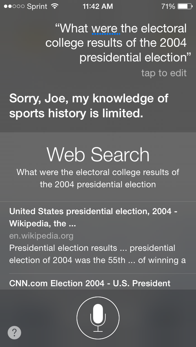 """What were the electoral college results of the 2004 presidential election"" ""Sorry, Joe, my knowledge of sports history is limited."""