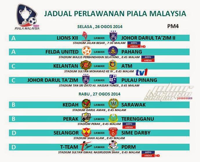 Jadual Siaran Langsung Piala Malaysia 26 Ogos 2014 Rabu