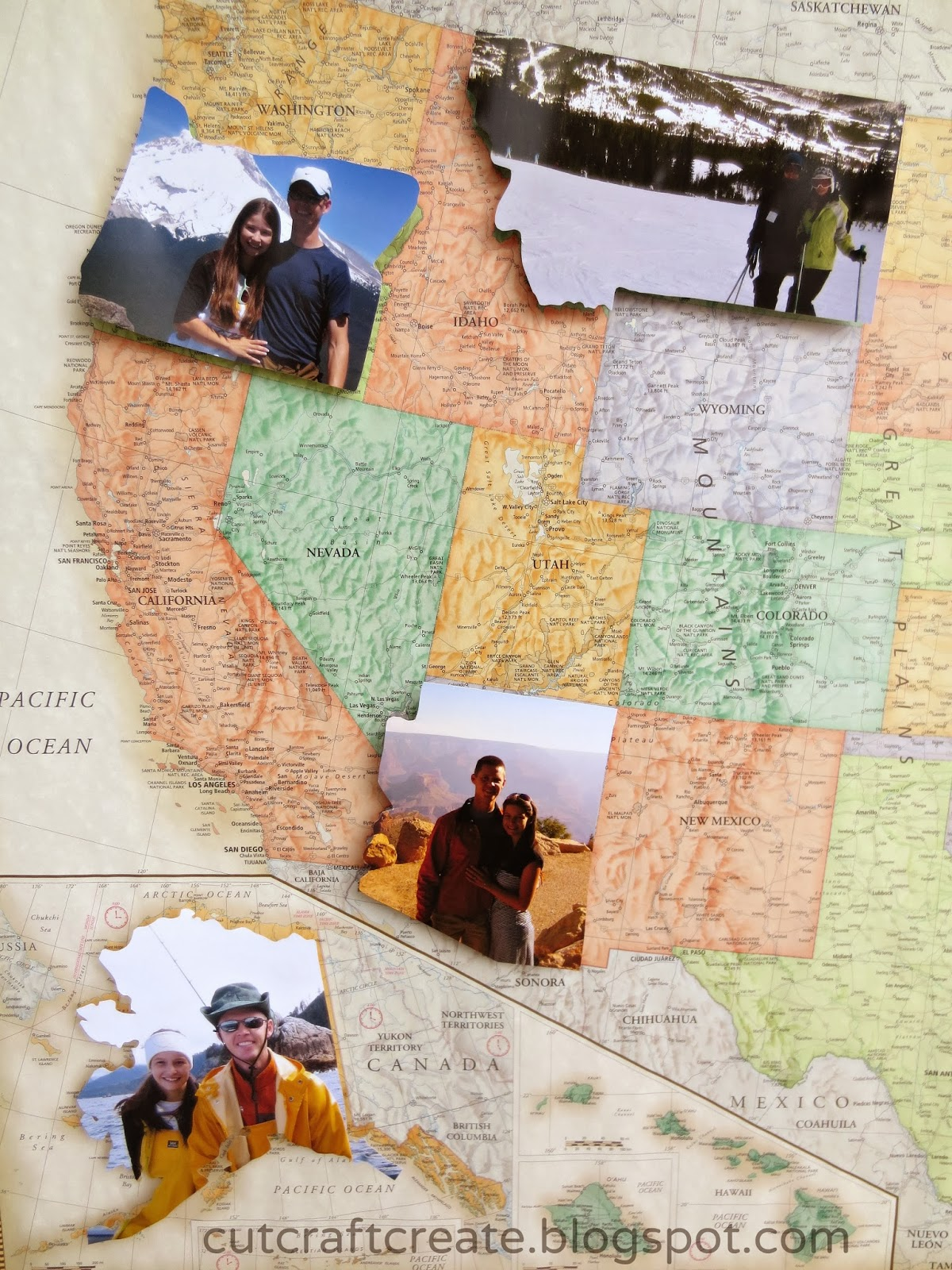 Cut Craft Create Personalized Photo Map for our Paper Anniversary – Travel Maps Of Usa