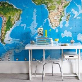 decoración de paredes con mapas