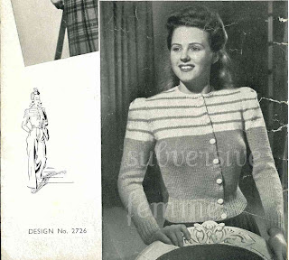 1940's Knitting pattern women's Wind Breaker Cardigan