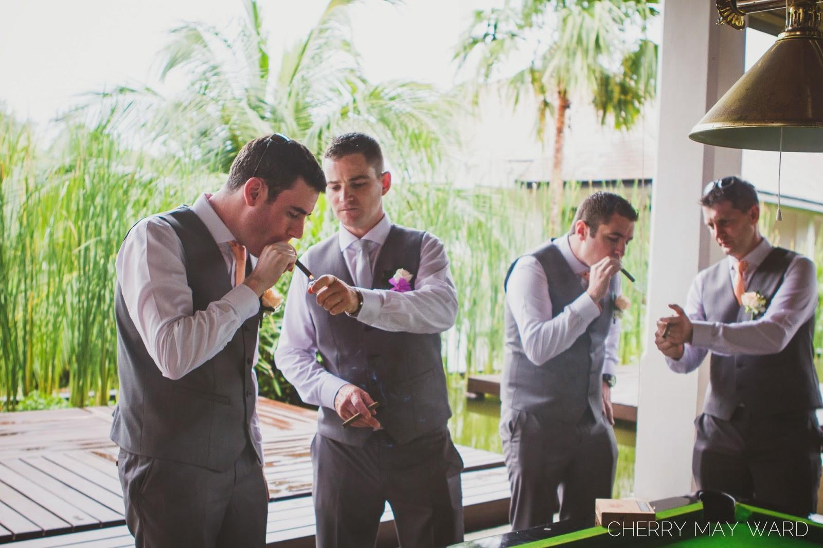 Koh Samui mens wedding portraits, cigars, men with cigars, lighting cigars, Thailand wedding with cigars, Koh Samui wedding photographer