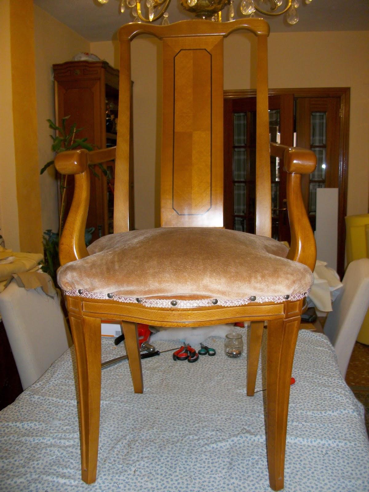 El blog de la restauradora tapizado de dos sillas de comedor con brazos - Sillas de comedor con brazos ...