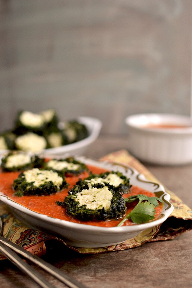 Spinach-Paneer balls in Tomato sauce