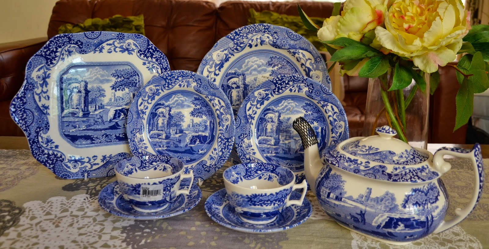 SPODE Blue Italian Tea Set and Dinner Plates & Kitch u0027nu0027 Chic: SPODE Blue Italian Tea Set and Dinner Plates
