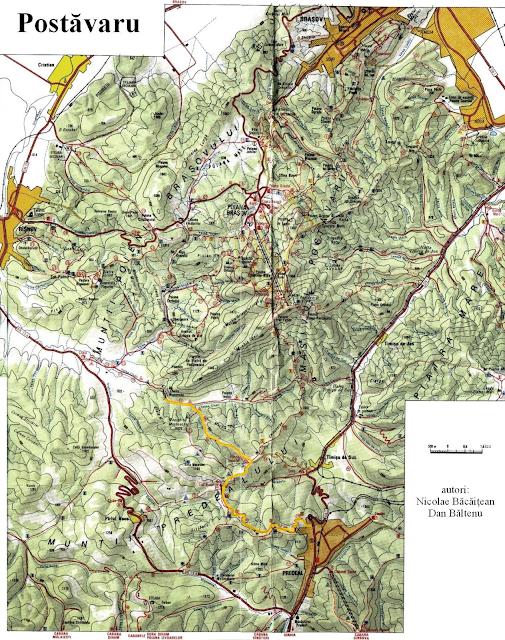 harta muntii postavaru si predealului