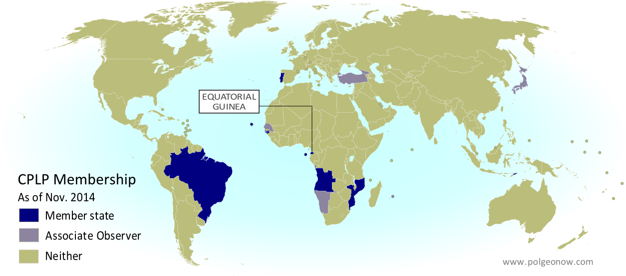 Portuguese community admits new member observer countries map map of the community of portuguese language countries cplp including both member states gumiabroncs Choice Image